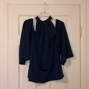 Eloquii NWT 18 blue cold shoulder bell sleeve top